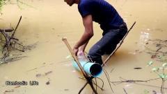 猎奇:农村男子做的这个抽鱼器,抽起鱼来特别