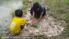 猎奇:农村孩子们在池塘边设置一个水瓶,很多