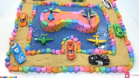 儿童创意手工学颜色 用七彩彩泥制作坦克与汽车公路