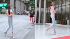 成都街拍瞬间:这么好看的大长腿,不架在肩膀上可惜了