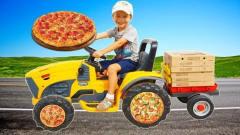 萌娃搞笑视频:萌娃小正太用货车送餐,正太是