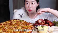 吃播:韩国美女吃货试吃超大份双倍*酪披萨,边