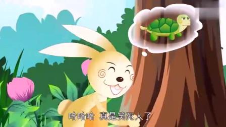 乌龟努力的和兔子比试赛跑,没想到跑到中途时看到这一幕