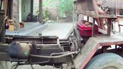农村牛人拼装的自卸车,单缸柴油机驱动,效率
