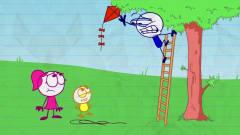 搞笑铅笔动画:小笨蛋有恐高症,还自告奋勇帮