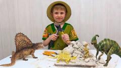 萌娃的恐龙玩具:萌娃扮演考古学家,挖掘石块