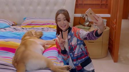 美女偷偷和狗狗自拍,谁知手机咔嚓一声,狗狗