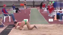 女子跳远比赛!运动员的起步步伐节奏太强了,
