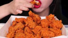 吃播:韩国美女吃货试吃韩式辣炸鸡,外酥里嫩