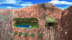 原始技术:牛人在悬崖上建造竹制游泳池和房子
