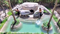 一把铲子打造海洋主题泳池,牛人这手艺,水上