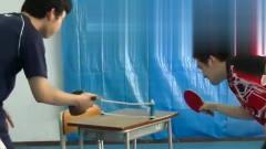奇葩的日本乒乓训练,还可以发旋球,这水平属