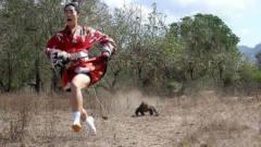 日本美女作死勾引科莫多巨蜥,立马撒腿就跑,