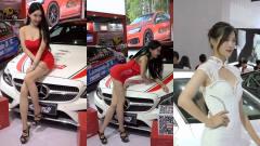 美女车模:烈焰红裙与白色长裙美女车模,一个