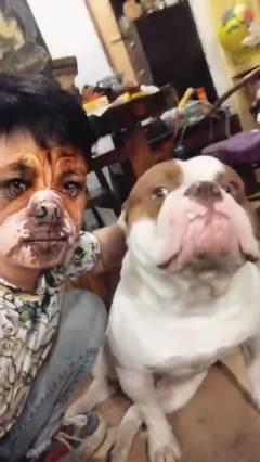 这狗子肯定奇怪,为啥旁边这狗没尖牙