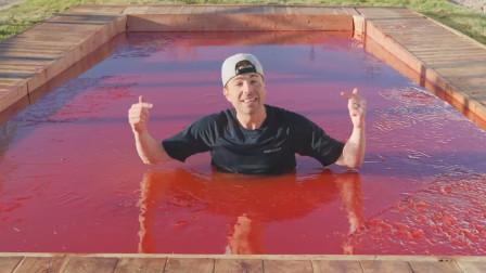 牛人自制果冻泳池,在里面游泳什么感觉?一口