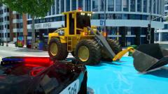 工程车卡通,推土机和翻斗车救援警车