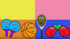 体育用品 网球拍 篮球 拳击手套等涂色游戏