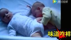 宝宝搞笑视频合集,肚子饿了啃兄弟的腿