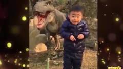 家庭幽默录像:小男孩被逼与恐龙合影,上演史