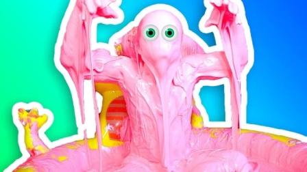 恶搞:男子用粉色史莱姆泡澡,全程太陶醉,画