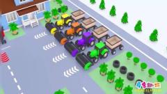 儿童卡通 四辆彩色的收割机在田里工作 学习颜色