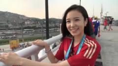 上届世界杯的美女球迷,是韩国的主持人,回眸