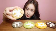 吃播:韩国美女吃货试吃五色甜点饼,看她吃东