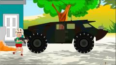 吃鸡搞笑动画:装甲车不怕手雷,一分钟耗完几