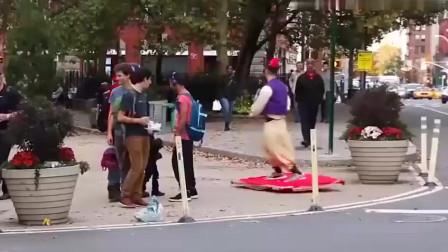 国外恶搞合集,街头出现阿拉丁小伙,太炫酷了