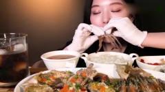 吃播-韩国大胃王美女吃生腌虾和生腌蟹,搭配可