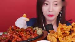吃播:韩国美女大胃王无骨香辣鸡爪,还有美味