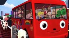 亲子早教卡通 宝宝和小动物们一起乘坐公交巴士