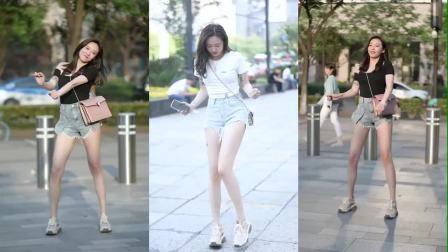 街拍到一位小姐姐穿短裤热舞,秀出美腿,真是