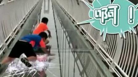 俩熊孩子挑战高空玻璃桥,实力演绎什么叫闻风