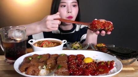 韩国美女吃播虾仁酱调味虾仁白米饭花蟹大酱汤