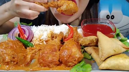 吃播:韩国美女吃货试吃4只咖喱鸡腿,配上手抓