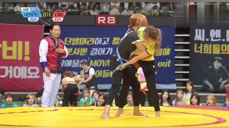 韩国女子摔角:韩国美女的摔角方式蛮特别,几