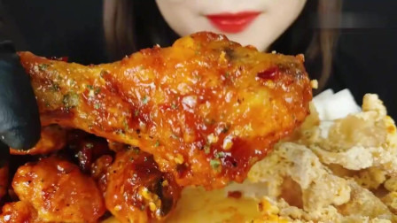 吃播:韩国美女吃货试吃奥尔良烤鸡腿,配上炸