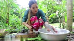 农村美女用罗望子汁做红烧鱼吃,这种吃法我还