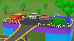 儿童益智动画:停车场上的校车消防车警车