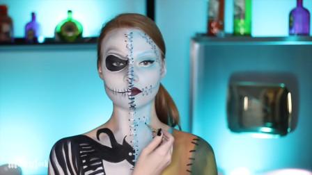 美女仿妆迪士尼动漫:一半脸化妆莎莉,一半脸