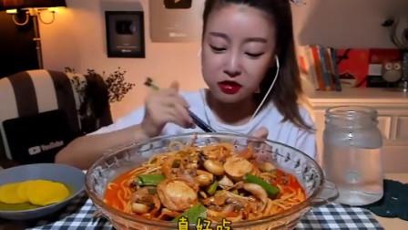 大胃王:韩国美女来吃播了,吃麻辣海鲜意面,