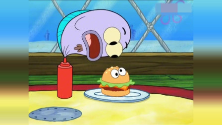 海绵宝搞笑动画:派大星在蟹堡上加眼珠,就卖
