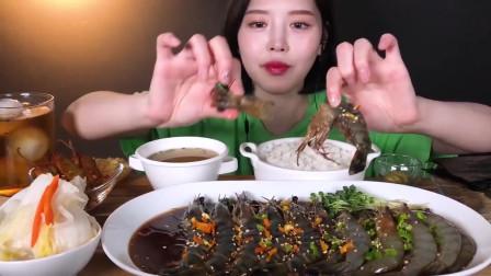 韩国美女吃播*oki,吃大虾黑虎虾,白泡菜腌辣椒