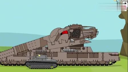 坦克世界搞笑动画:KV11多炮塔对阵Y系舰炮,看谁