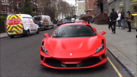 街拍法拉利全新F8超级跑车,车主就是这条街最靓