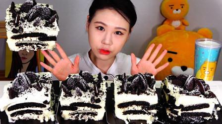 """韩国美女吃播:""""冰盒巧克力蛋糕"""",看着真诱"""