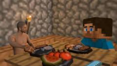 绝地求生中的游戏角色来到了我的世界中,史蒂夫请他吃了一顿饭