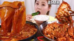 韩国美女吃播大胃王,吃辣煮辣蟹和韩式泡菜猪